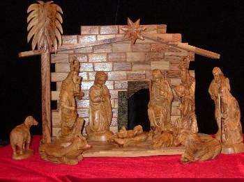 16 Piece Olive Wood Nativity and Manger Set