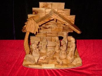 13 Piece Olive Wood Palm Tree Nativity and Manger Set
