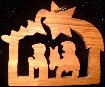 Hand Made Olive Wood  Ornament flight to Egypt