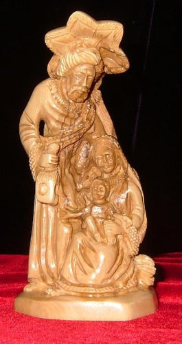 Olive Wood Statue of Holy Family with Star of Bethlehem