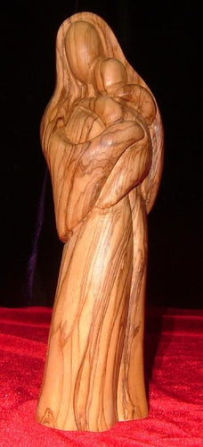Olive Wood Statue of Mary Holding Baby Jesus