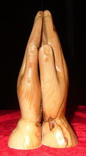 Hand Carved Olive Wood Statue: Praying hands