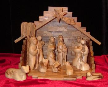 13 Piece Olive Wood Nativity and Manger Set