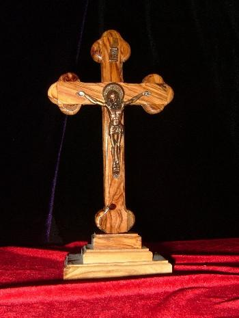 Hand Carved Olive Wood Celtic Style Crucifix with Beveled Edges with Table Stand