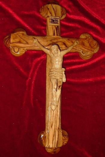 Hand Carved Olive Wood Celtic Style Cross with Beveled Edges