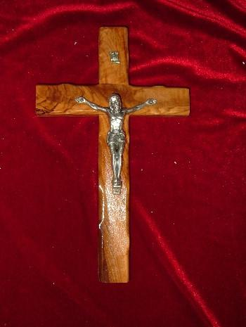 Hand Carved Olive Wood Crucifix with Bumbs on the Edges