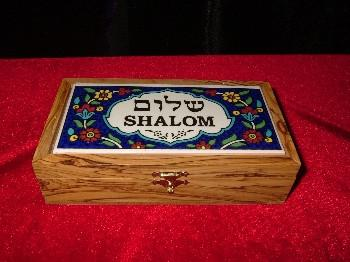 Hand Carved Olive Wood Box with Ceramic Tile Shalom Top.