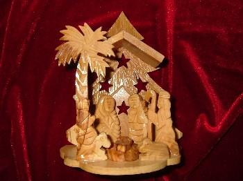 Olive Wood Palm Tree Nativity