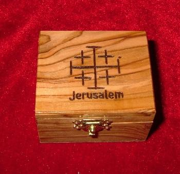 Hand Carved Olive Wood Box with Jerusalem Cross Carving on Top.