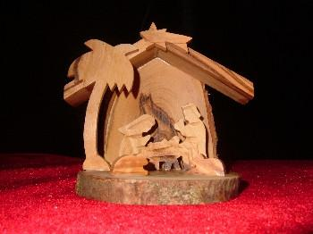 Hand Made Olive Wood Nativity and Manger with Bark