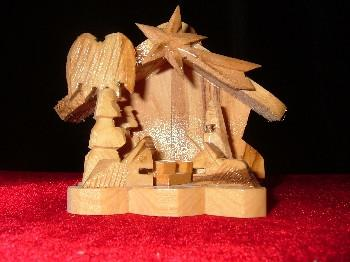 Hand Made Olive Wood Nativity and Manger