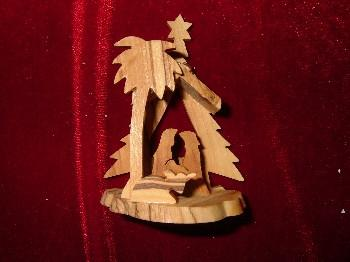 Hand Made Olive Wood Nativity and Manger with Palm Tree in Front and Pine Tree Ornament