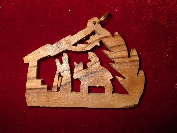 Hand Made OliveWood Flight to Egypt with Star of Bethlehem Ornament