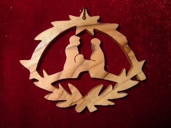 Hand Made OliveWood Nativity with Star of Bethlehem Ornament