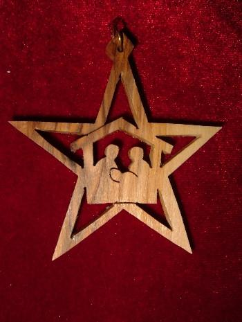 Hand Made Olive Wood Nativity and Manger with Star of Bethlehem Ornament