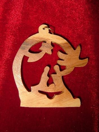 Hand Made Olive Wood- Nativity with Star of Bethlehem Ornament