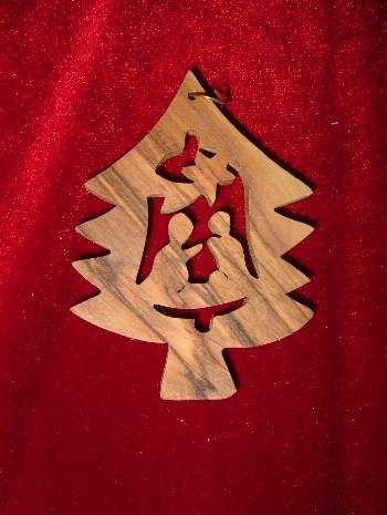 Hand Made Olive WoodNativity with Star of Bethlehem Ornament