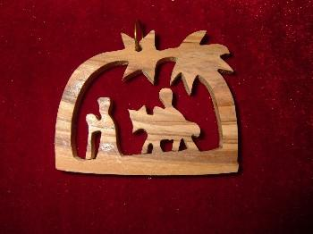 Hand Made Olive Wood Flight to Egypt with Star of Bethlehem Ornament