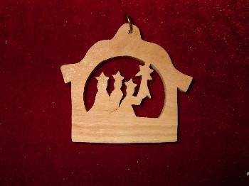 Hand Made Olive Wood 3 kings with Star of Bethlehem Ornament