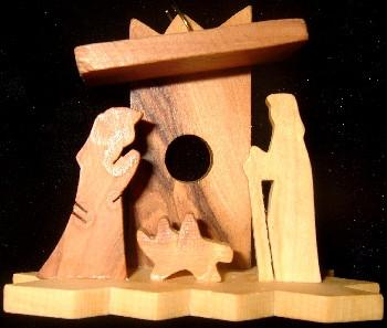 Hand Made Olive Wood Nativity and Manger Ornament