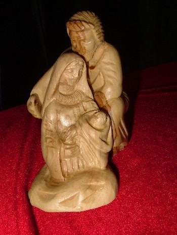 Hand Carved Olive Wood 2 piece Statue: Joseph holding Mary,Mary holding Jesus - Holy Family