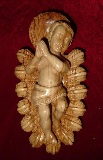 Hand Carved Olive Wood Statue: Baby Jesus with Crib