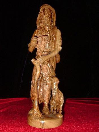 Hand Carved Olive Wood Statue: Shepherd with Lamb and Walking Stick Smoking a Pipe