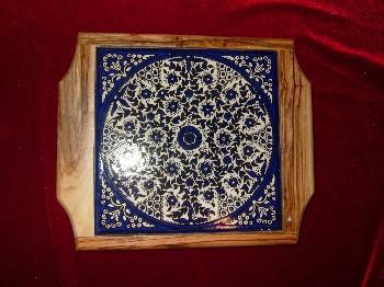 Hand Carved Olive Wood Hot Plate with Floral Decorative Ceramic Top