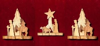 Set of 3 Hand Made Olive Wood Flight to Egypt Ornaments (Boxed Gift Set)