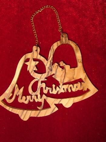 Hand Made Olive Wood Ornament: 2 Bells,Merry Christmas,and Star of Bethlehem Ornament