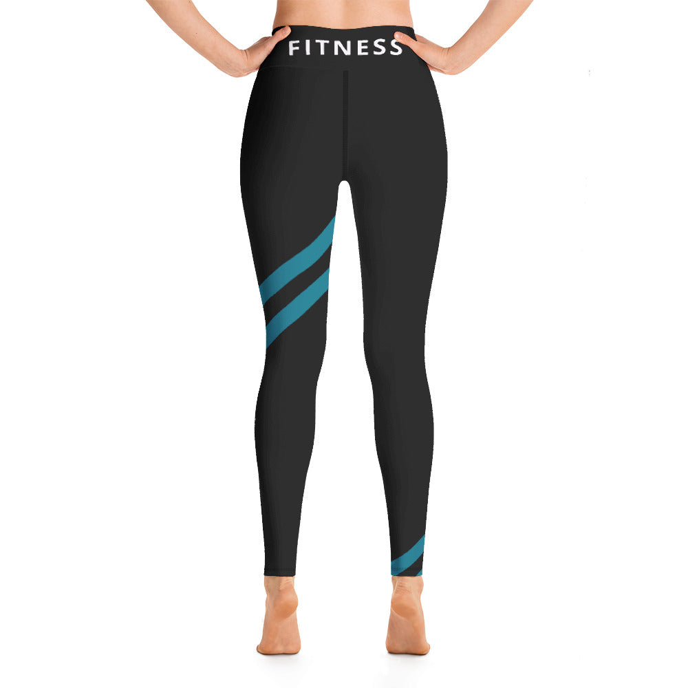 Black & Teal High Waist Leggings