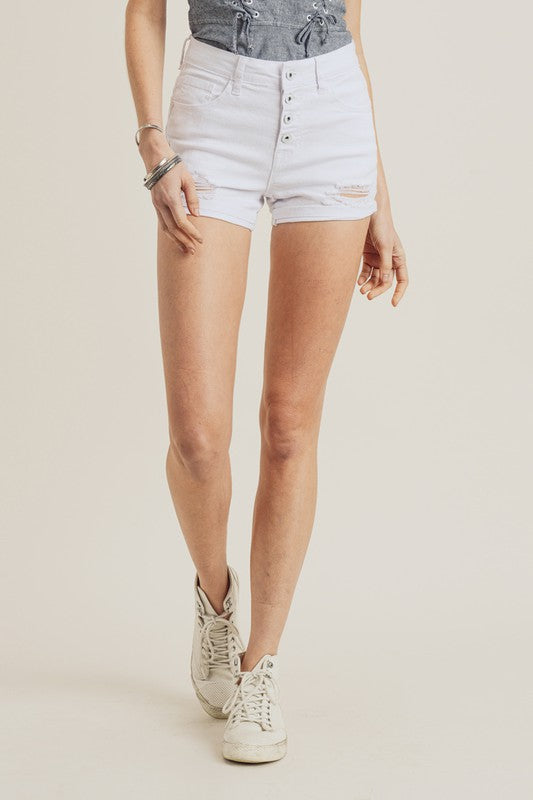 Rita Distressed White Denim Shorts FINAL SALE