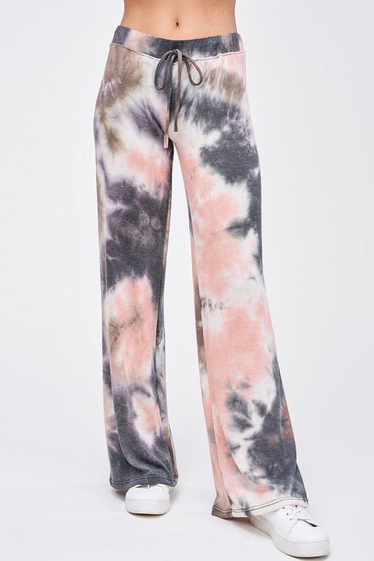 Flow With It Tie De Knit Pant- Coral Pink & Grey