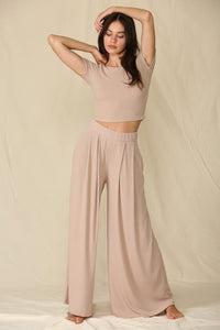 Lively Knit Pocketed Wide Pants in Mocha