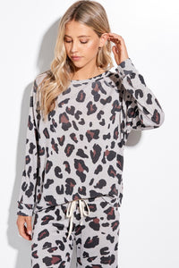 Eclipse Long Sleeve Leopard Knit Top