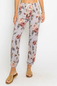 Rose Way Pocketed Floral Knit Joggers