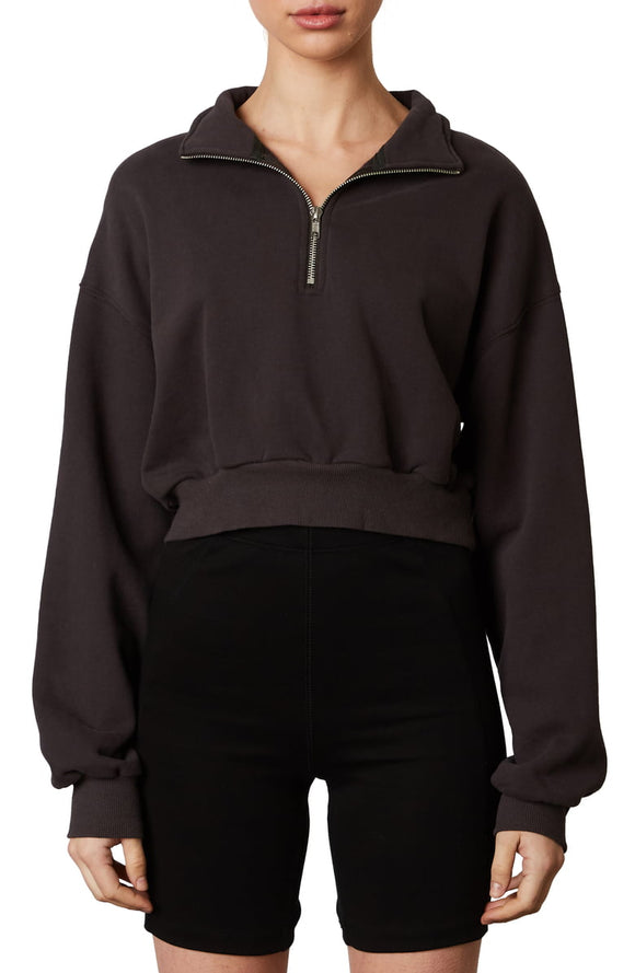 Ari Quarter- Zip Pullover in Black