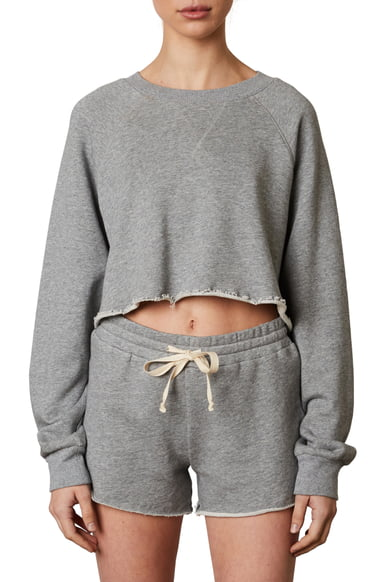 Nia Vintage Crop Pullover: Heather Grey