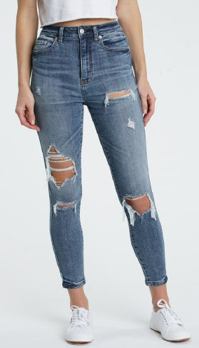 Money Maker Distressed Denim in Low Key by Daze Denim