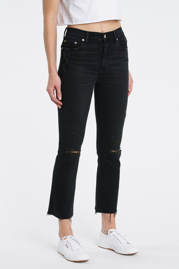 Shy Girl Black High-Waisted Distressed Cropped Flare Jeans