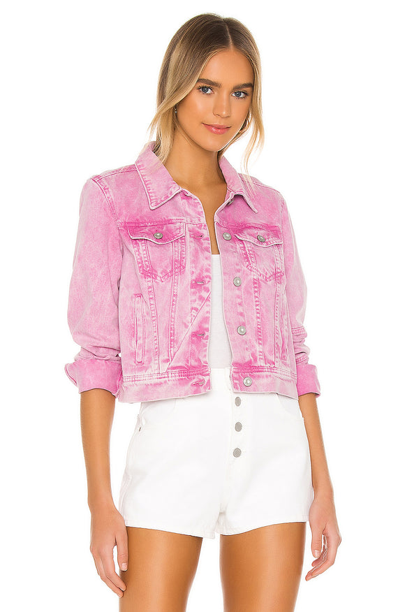 Rumors Denim Jacket in Pink Acid Wash by Free People