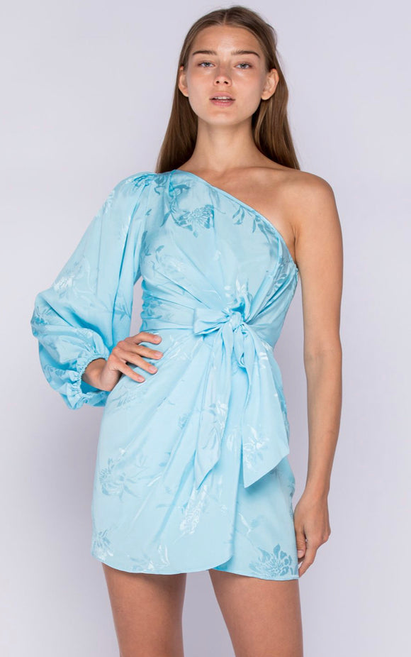 Richie One Sleeve Dress- Baby Blue Floral