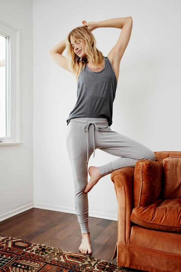 Sunny Skinny Sweatpants by Free People in Heather Grey
