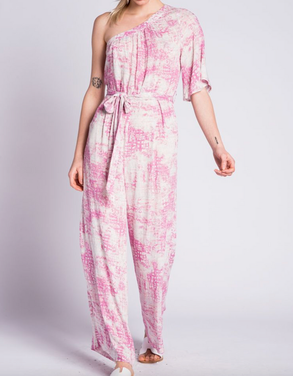 Wishful Thinking Printed One Shoulder Jumpsuit