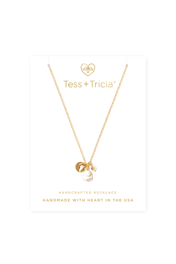 Trio Charm Pearl Necklace
