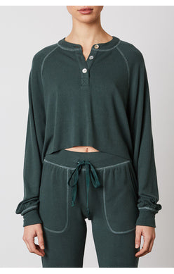 Contrast Stitch Henley- Hunter Green