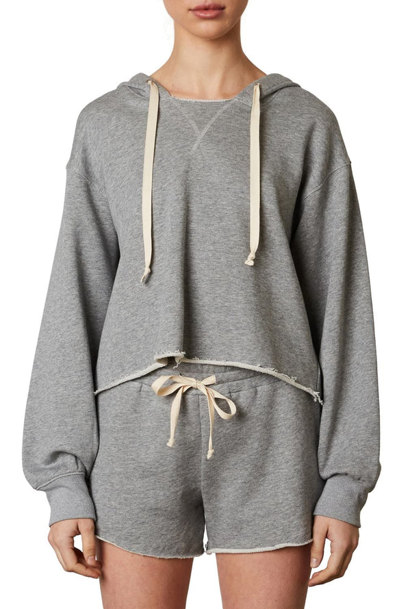 Cut Off Hoodie in Heather Grey