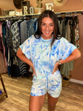 Ship To Shore Pocketed Tie Dye Shorts- Blue