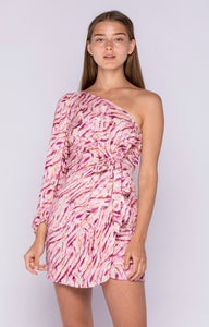 Richie One Sleeve Dress- Pink Berry