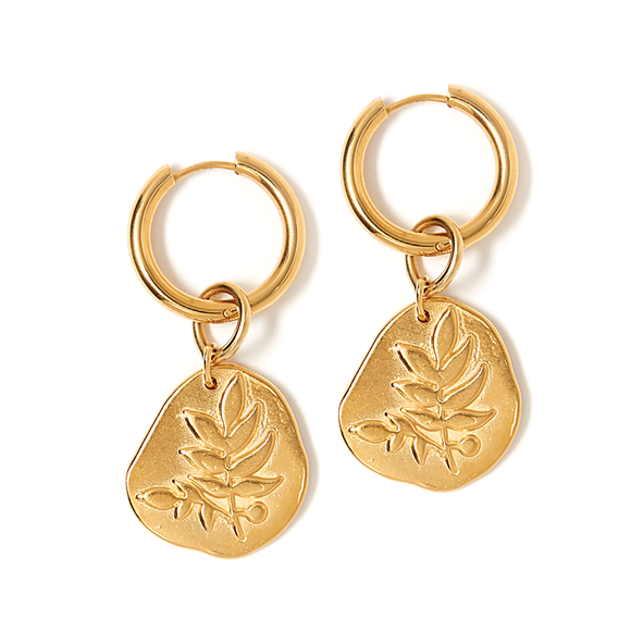 Bloom Luxe Large Hoop Frond Earring